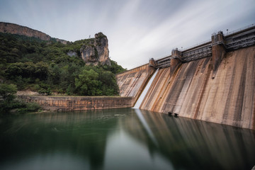 Barrage Dam of Ebro river in el Sobron lake, in Burgos, Spain.