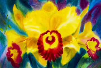 Painting abstract watercolor yellow,red color of orchid flowers.