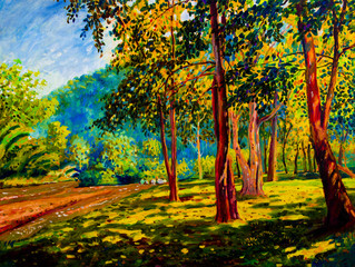 Oil color painting landscape on canvas colorful of trees gaden.
