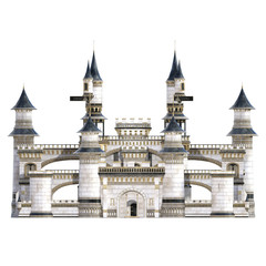 White Royal Castle isolated on white. 3d render