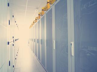 modern server room with white servers
