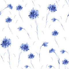 Watercolor vintage pattern. Seamless background with a pattern - flower cornflower. Beautiful splash of paint, art background for fabric, paper, textiles