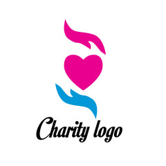 charity logo design with hand and heart icon