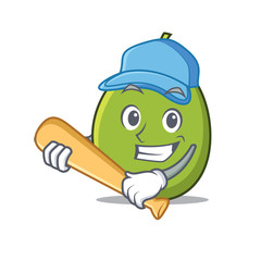 Playing baseball olive character cartoon style
