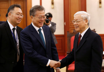 South Korea's President Moon meets VietnamÕs Communist Party chief Trong at the PartyÕs head office in Hanoi,