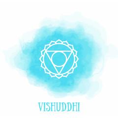 Vishuddha. Chakra vishuddhi watercolor symbol