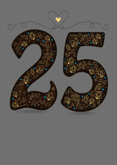 Brown Floral Number Twenty Five