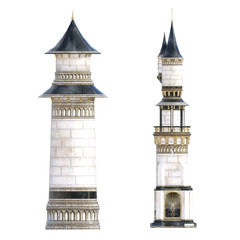 White, blue and gold royal castle towers isolated on white, 3d render