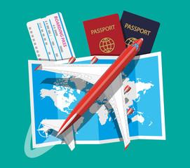 Passenger jet, boarding pass and passport, map