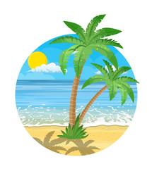 Landscape of palm tree on beach.