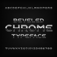 Chrome effect alphabet font. Metal beveled letters numbers and symbols. Stock vector typeface for any typography design.