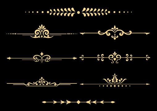 Vintage set of decorative elements. Golden separators on a black