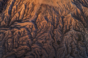 Beautiful textures of Mount Bromo volcano at sunset, indonesia