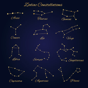 Hand drawn gold vector zodiac constellations set of 12 signs isolated on the dark background.