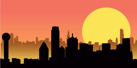 Sunset City Skyline Building Vector Illustration