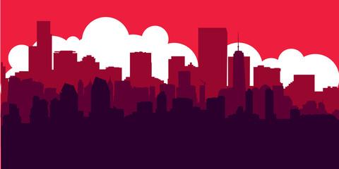 Red Sunset City Skyline Vector Illustration