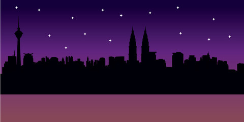 Night City Skyline Illustration with Stars
