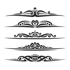 Vector set of black page dividers for greeting text, 5 simple separators of victorian style for wedding title, design elements for create border, ornate decorations with flourishes ornament on white