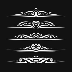 Vector set of white page dividers for greeting text, 5 simple separators of victorian style for wedding title, design elements for create border, ornate decorations with flourishes ornament on black