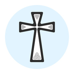 Balck and white isolated vector cross with triquetra in each corner on light blue circular background