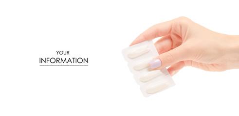 Female hand holding suppositoria medicine pattern