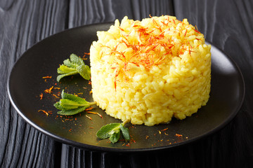 Risotto milanese, an italian recipe typical of Milan closeup. Horizontal