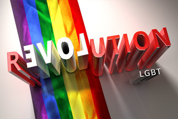 LGBT Lesbian Gay Bisexual Transsexual Rights. Rainbow flag background. A grunge background of the gay flag. Sex and love revolution 3d illustration.