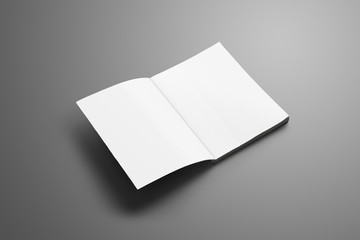 Universal blank A4, (A5) catalog with soft realistic shadows isolated on gray background.