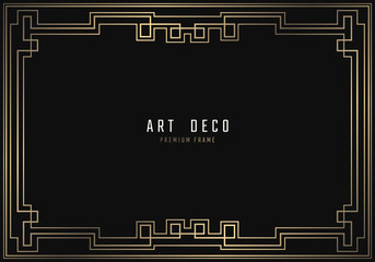 Vector geometric frame in Art Deco style. Rectangle noble design for invitations, cards, posters. Black and golden lined shape. Sandblasting ornament.