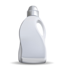 Household chemicals blank plastic bottles with handle and bent tip realistic vector isolated.