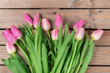 Tulips on the wooden background