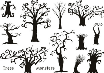 Halloween trees, creepy or scary and frightening branches. fabulous mythical or fantastic monsters. wooden creatures in the forest.
