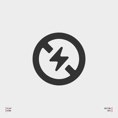 No Photo flash sign icon. Lightning symbol. Flat no photo flash web icon on white background. Vector
