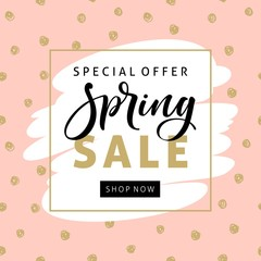 Spring sale banner template with modern brush calligraphy for online shopping, vector illustration.