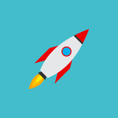 Rocket vector icon. Start up concept symbol space roket ship in trendy flat style isolated on blue background