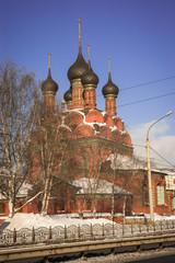 Red brick church of the Epiphany in Yaroslavl in Russia