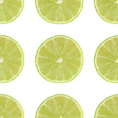 Lime slice. Seamless pattern. Isolated on white background