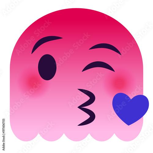 Kussmund mit Herz Emoticon - pinker Geist Stockfotos und