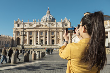 Young Asian Woman On Saint Peter's Square In Rome