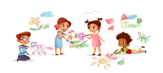 Children drawing pictures with chalk pencils vector illustration of cartoon kids kindergarten. Flat design boys and girls with color pencils draw sketch pictures on walls and floor