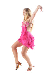 Professional dance choreography pose of female dancer in pink costume with raised up arms. Full...