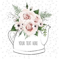 Cute illustration with a bouquet of flowers in a teapot. Vector card.