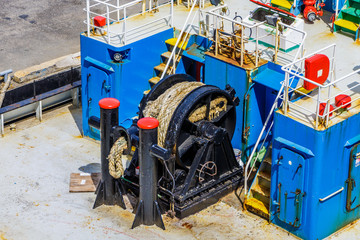 Black Reel for Rope on Deck of Cruise Ship