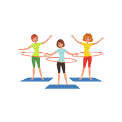 Sporty young girls doing hula-hoop workout. Beautiful women in sportswear. Cartoon people in fitness center. Active lifestyle. Physical activity. Flat vector design