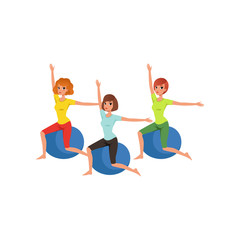 Cartoon women characters doing exercise with fitness ball. People in gym. Three young girls in sportswear. Healthy lifestyle. Physical activity. Flat vector design