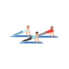 Young men doing plank exercise or push ups. Cartoon guys in sportswear. Healthy lifestyle. People in fitness center. Physical activity. Flat vector design