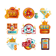 Vector set of original retro logo templates for royal casino/poker club. Gambling emblems. Elements for mobile app or professional tournament promo
