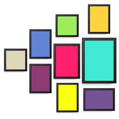 Set of colorful photo frames. Vector.