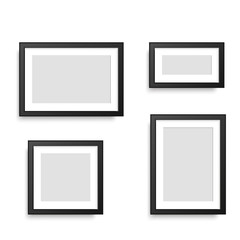 Set of black vintage photo frames. Vector.