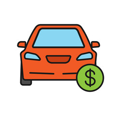 Car with dollar sign color icon